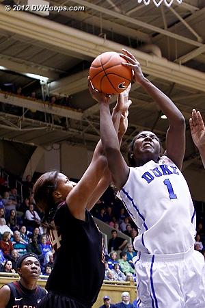 Chelsea Davis challenges Elizabeth Williams under the basket  - Duke Tags: #1 Elizabeth Williams