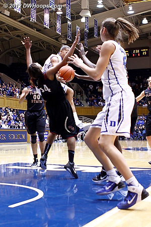 Shay Selby, about to dish to Allison Vernerey, gets Chelsea Davis up in the air enough to draw a blocking foul  - Duke Tags: #3 Shay Selby, #43 Allison Vernerey