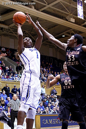 Gray would find Elizabeth Williams for the hoop  - Duke Tags: #1 Elizabeth Williams
