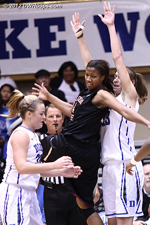 With 5 seconds left in the half, Tricia Liston forces a Chelsea Davis turnover  - Duke Tags: #32 Tricia Liston