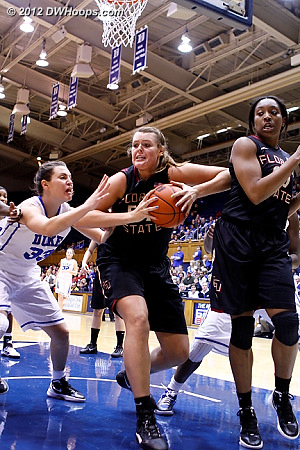 Bravard keeps a rebound just out of Haley Peters' reach  - Duke Tags: #33 Haley Peters