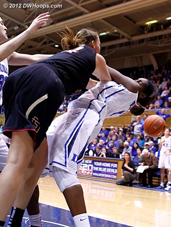 Williams try to wrest the ball away from Bravard nets nothing more than her third foul  - Duke Tags: #1 Elizabeth Williams