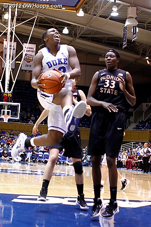 With Duke up four Gray is unable to convert the spectacular layup  - Duke Tags: #12 Chelsea Gray