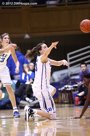 After the steal, Peters makes a nifty outlet pass to a streaking Richa Jackson  - Duke Tags: #33 Haley Peters
