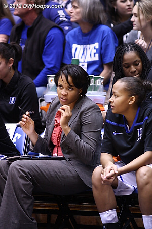 Coach Jackson makes a point to Shay Selby  - Duke Tags: #3 Shay Selby, Candace Jackson