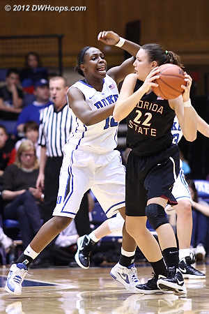 Chelsea Gray closely guards FSU's Olivia Bresnahan (22)