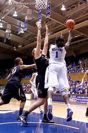 Williams attempts a high degree of difficulty layup, and misses  - Duke Tags: #1 Elizabeth Williams
