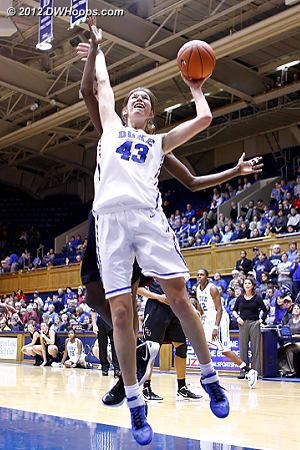 Allison Vernerey fends off Chelsea Davis while trying to put Duke up eight - it didn't go.  - Duke Tags: #43 Allison Vernerey