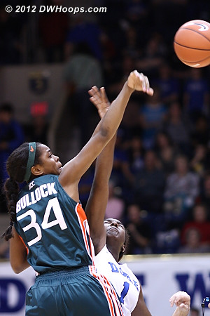 Opening tip won by Miami  - Duke Tags: #1 Elizabeth Williams - MIA Players: #34 Sylvia Bullock