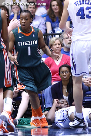 Riquna in disbelief  - Duke Tags: #1 Elizabeth Williams - MIA Players: #1 Riquna Williams