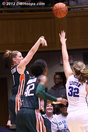 Yderstrom hits a trey after the time out, cutting it to nine  - MIA Players: #3 Stefanie Yderstrom