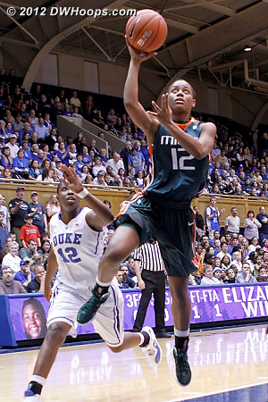 Saunders couldn't hit this one, Duke is up by 13  - MIA Players: #12 Krystal Saunders