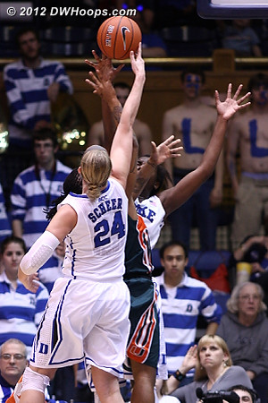 Elizabeth Williams got credit for the blocked shot but Scheer also got a piece of it  - Duke Tags: #1 Elizabeth Williams, #24 Kathleen Scheer - MIA Players: #1 Riquna Williams