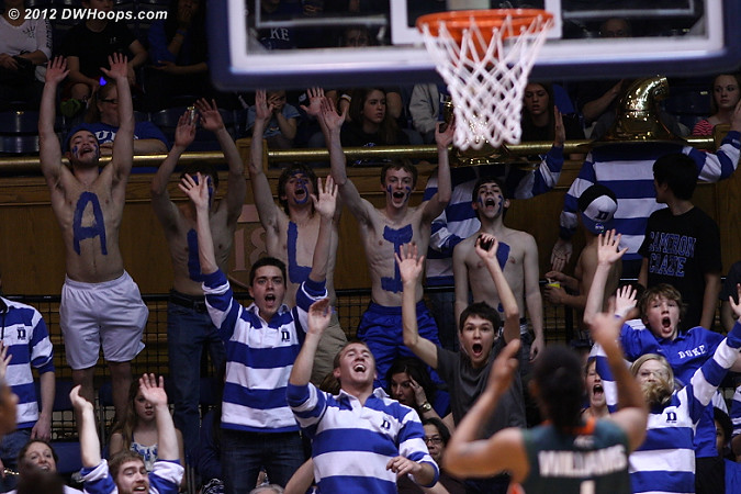 A great job by the fans as Williams missed a free throw, still Miami cuts it to four  - Duke Tags: Fans, Duke Pep Band - MIA Players: #1 Riquna Williams