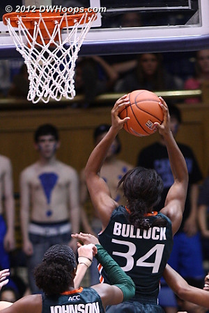 Bullock gets a key offensive board as Miami trails by just five  - MIA Players: #34 Sylvia Bullock