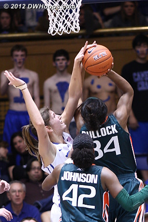 Foul on Vernerey - the Bullock free throws cut Duke's once double digit lead to three points.