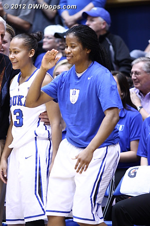 A happy Duke bench  - Duke Tags: #3 Shay Selby, #14 Ka'lia Johnson