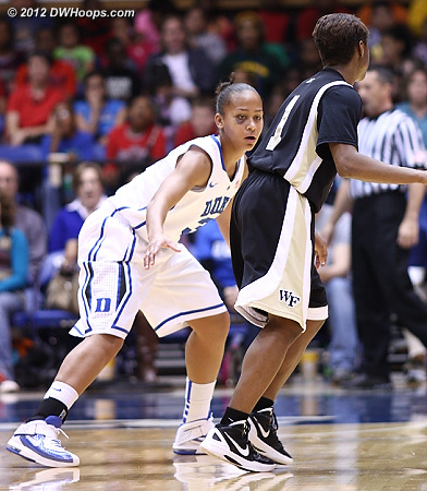 Shay sported a black eye from a collision with UConn's Tiffany Hayes  - Duke Tags: #3 Shay Selby