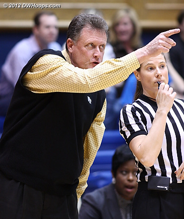 Mike Petersen points something out to Karen Preato  - WAKE Players: Head Coach Mike Petersen