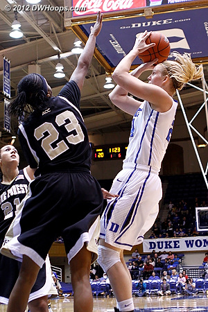 Scheer scores to put Duke up 22-11  - Duke Tags: #24 Kathleen Scheer - WAKE Players: #23 Secily Ray
