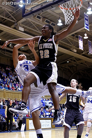 After the foul  - Duke Tags: #3 Shay Selby - WAKE Players: #22 Lakevia Boykin