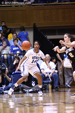 Good defense from Duke's reserves resulted in a Wake shot clock violation  - Duke Tags: #14 Ka'lia Johnson - WAKE Players: #2 Erin Hall