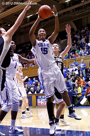 Richa Jackson had her first career double-double, scoring 11 points and grabbing 11 boards.  Here, she scores during a Duke run that put the game totally out of reach.