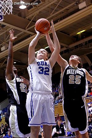 Hamby gets the block from behind  - Duke Tags: #32 Tricia Liston - WAKE Players: #22 Lakevia Boykin, #25 Dearica Hamby