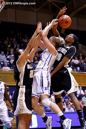 Secily Ray blocks a Scheer shot from behind as Kathleen collides with a stationary Sandra Garcia
