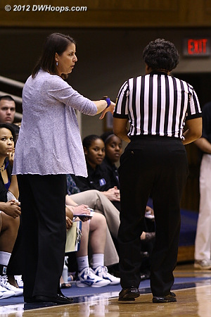 Coach P tells Bonita Spence that she saw a carry before a Duke foul