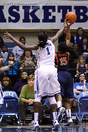 Williams goes for another block but instead fouls Ariana Moorer  - Duke Tags: #1 Elizabeth Williams