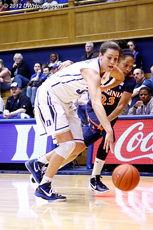 Haley Peters turns over Araira Franklin in the Duke full court press  - Duke Tags: #33 Haley Peters