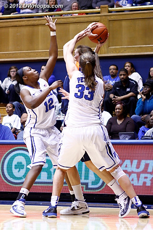 Gray and Peters swarm around Chelsea Shine  - Duke Tags: #12 Chelsea Gray, #33 Haley Peters