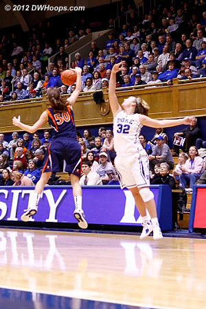 Duke had 14 first half turnovers - eight were UVa steals including this pick by Chelsea Shine