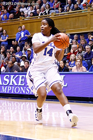 Ka'lia showed good judgement in a two-on-one break in pulling up short to pass  - Duke Tags: #14 Ka'lia Johnson