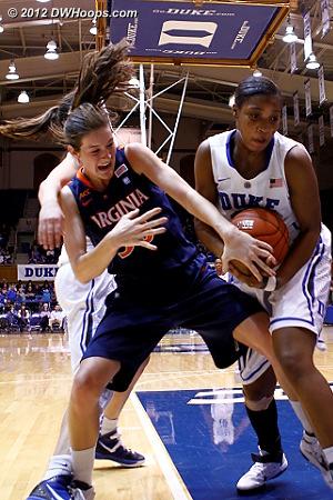 Chelsea Shine(left) and Richa Jackson battle for the ball  - Duke Tags: #15 Richa Jackson