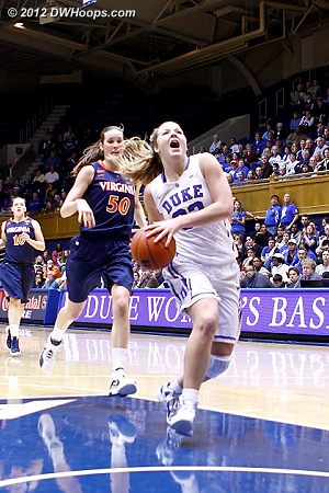 Tricia Liston drives to the basket on a fast break  - Duke Tags: #32 Tricia Liston