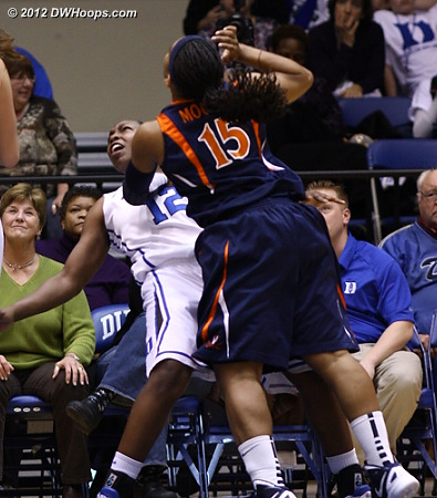A blocking foul was the delayed call on Chelsea Gray, sending Moorer to the line  - Duke Tags: #12 Chelsea Gray