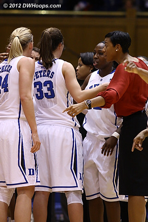 Joy Cheek with some pointers in the Duke huddle  - Duke Tags: Joy Cheek