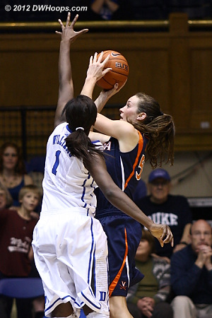 Elizabeth Williams guards the shooting Chelsea Shine