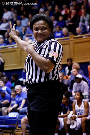 Bonita Spence gets praise from the floor seats after managing a blood on the floor situation