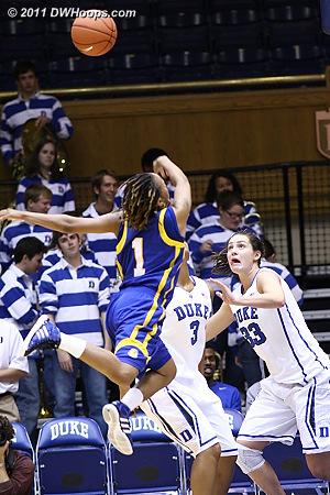 Brittni Johnson (1) caught in mid-air