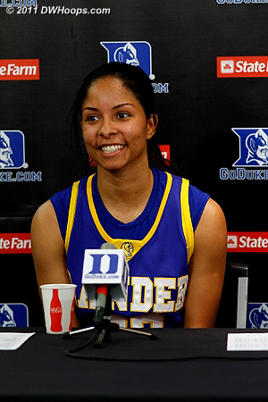 Lander's Jasmine Judge drained 8 treys, unofficially matching the record for most three pointers made by a Duke opponent in Cameron (South Carolina's Kelly Morone went 8-9 in 2001).
