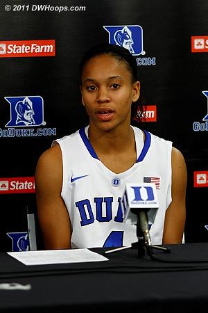 Chloe Wells in the press conference  - Duke Tags: #4 Chloe Wells
