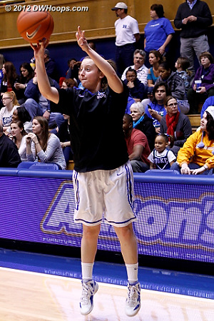 Jenna Frush takes a warm-up shot - she didn't see game action against the Terps.