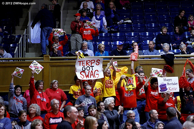 Maryland had a spirited cheering section behind their bench, spilling up into the upstairs reserved sections and the area next to the Duke Pep Band.  - Duke Tags: Fans
