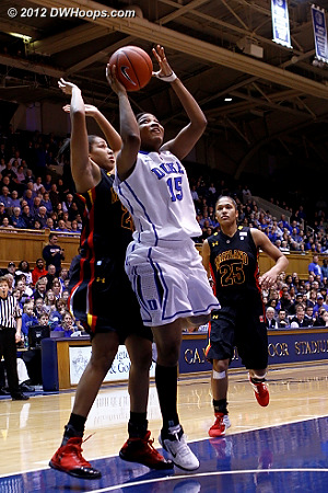 Richa Jackson attacked the basket and was the first Blue Devil to score  - Duke Tags: #15 Richa Jackson