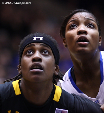 Maryland's Lynetta Kizer (left) and Duke's Richa Jackson wait for the Williams free throw to go up