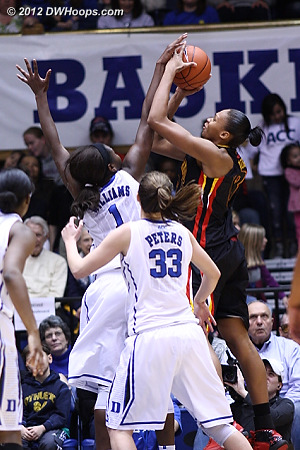 It looked like this would be a block for Elizabeth Williams,  but Alicia DeVaughn powered through it to give Maryland a 20-19 lead.  - Duke Tags: #1 Elizabeth Williams