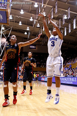 After the offensive board Selby stroked a baseline jumper for a 27-26 Duke lead  - Duke Tags: #3 Shay Selby